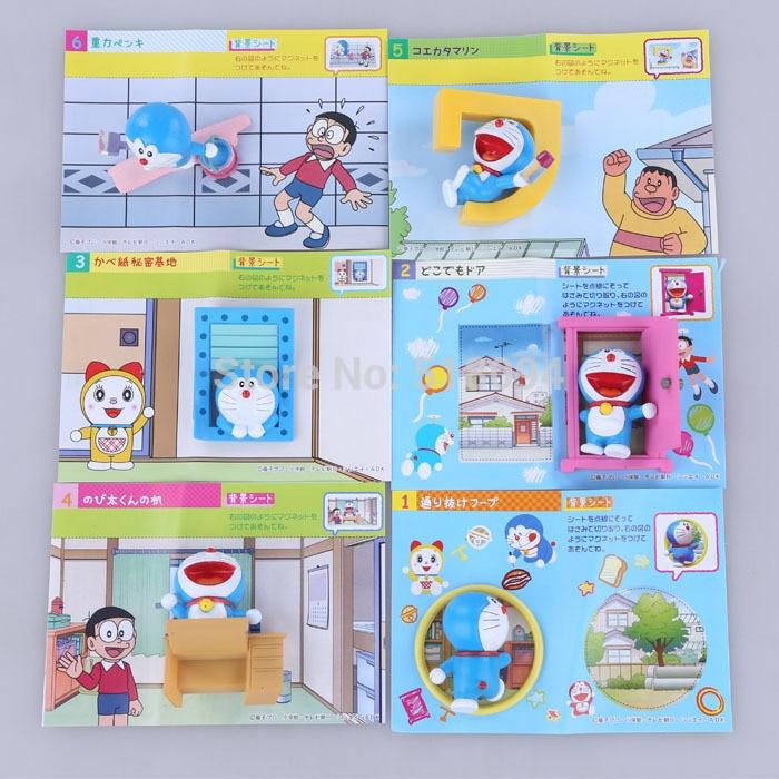 6pcs/set Anime Cartoon Cute Egg Doraemon Mini PVC Action Figure Toys Dolls 4-6CM OF079 sitting height 65cm anime cartoon cute doraemon plush toys japanese anime doraemon cat plush toys children s gift