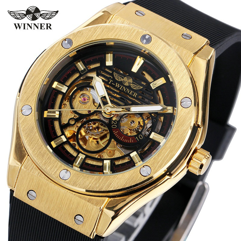 WINNER Luxury Men's Sport Watches Silicone Strap 2017 Men's Skeleton Auto Mechanical Fashion Wristwatches Golden + Gift BOX t winner fashion women girl skeleton dial handind mechanical watch watches pu leather band wristwatches gift free ship