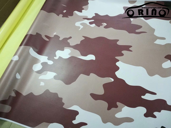 White Brown Camouflage Vinyl PVC Car Wrap Foil With Bubble Free DIY Styling Sticker Motorbike Truck Car Wrapping ORINO WRAPS
