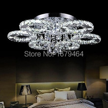 Modern Led Flush Mount 6 Light Transparent Crystal Stainless Steel 220-240V
