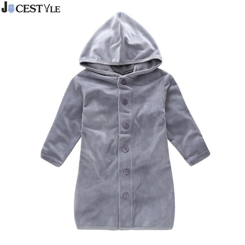Spring Kids Robe Long Sleeve Fleece Home Nightgown Hooded Windproof Boys Girls Long Coat Soft Warm Pajamas Baby Girl Robes