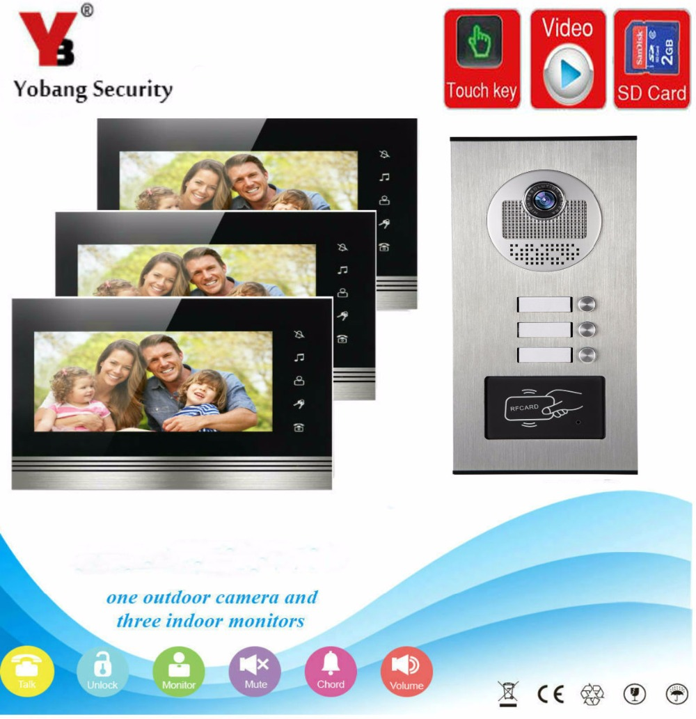 YobangSecurity 7 Inch Wired RFID Video Door Phone Doorbell Intercom Door Chime With Video Recording And Photo Taking Function