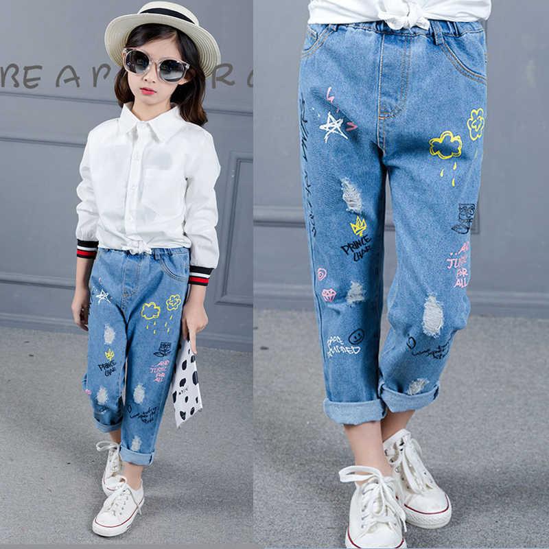 Büyük kızlar pantolon 2019 yeni bahar sonbahar çocuk giyim günlük kot pantolon çocuk çizgi film görüntü kız kalem pantolon sıcak satış