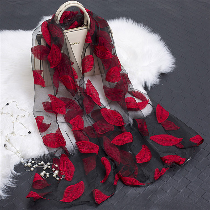 2019 Hot Sale Silk Scarf Womens Summer Breeze Lightweight Sheer Wrap And Shawls Bandana Beach Organza Gauze Lace Hollow Scarf