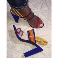 New Women Sandals Sexy Mix Color Transparents PVC Chunky Heels Sandals Buckle Strap Blue Party Stiletto Gladiator Women Pumps