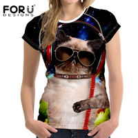 FORUDESIGNS Cute Cat Women Fashion T Shirts For Woman Body Building Cothing Animal Pattern Comfort Fitness