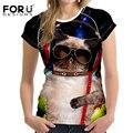 FORUDESIGNS Cute Cat Женщины Моды футболки Для Женщин Бодибилдинг Cothing Животных Шаблон Комфорт Фитнес Femme С Коротким Рукавом