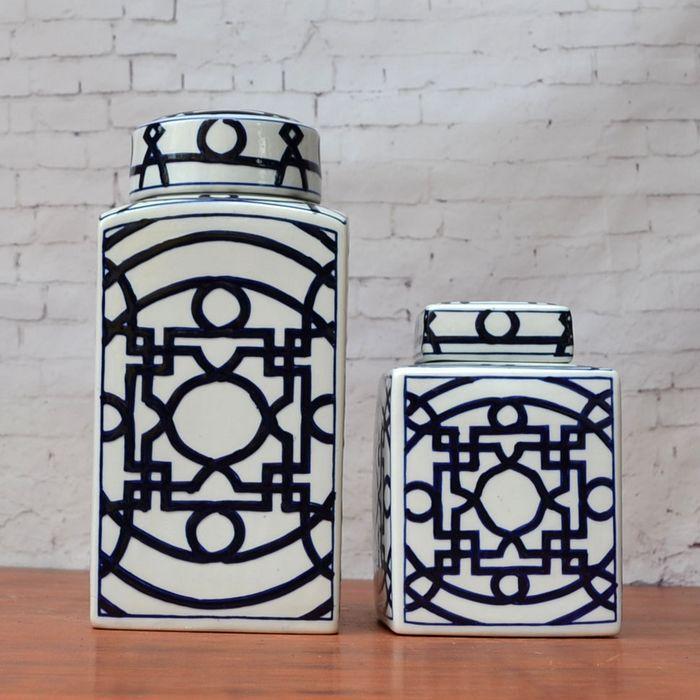 marine blue and white porcelain ceramic vase jar set for home decoration