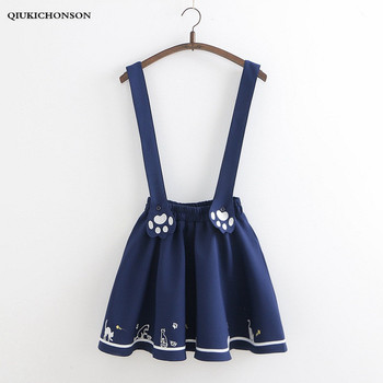 Japanese School Skirt Preppy Style Overalls Mini Tutu Skirt women Spring Summer Kawaii Cat-pad Embroidery Suspender Skirts jupe sweet style solid color button embellished women s suspender skirt