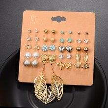 12 Pairs Mixed Crystal Stud Earrings