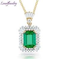 NEW Wonderful Emerald 7x9mm 18Kt White Gold Natural Diamond Emerald Wedding Gemstone Pendant SR0002
