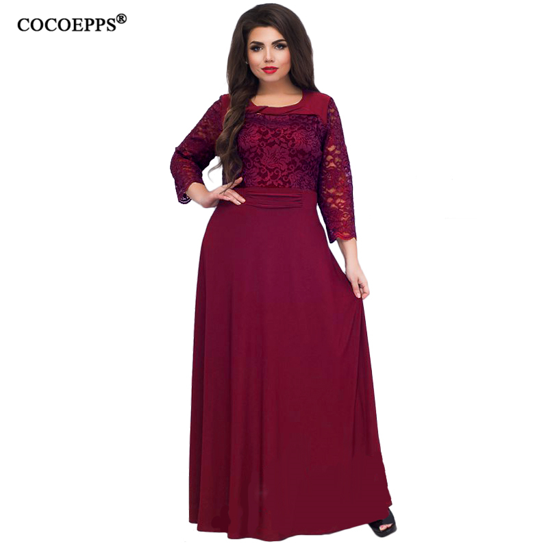 5XL 6XL 2019 New Women Long Dress Maxi Autumn Winter Big Sizes Lace Patchwork Dress Plus Size Sexy Party Dresses Black Clothing