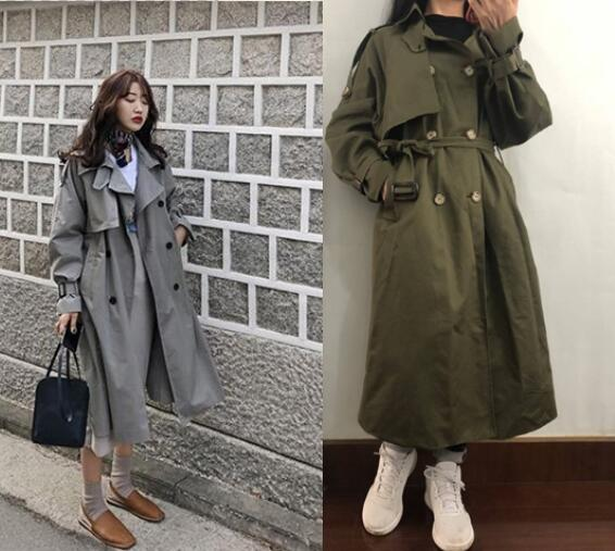 Russian Style dark Green casual loose   trench   coat with sashes oversize Double Breasted Vintage overcoats windbreaker