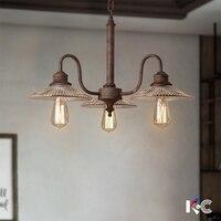 3 heads Loft Retro Glass Pendant Lights Industrial hanglampen Loft light American Style metal lampshade Fixtures Kitchen lamp