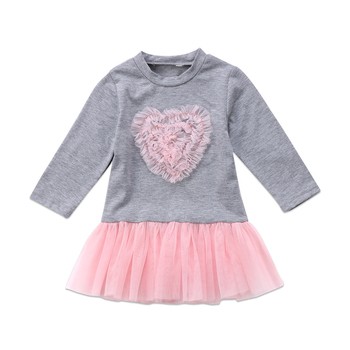 2018 New Year Costumes For Girls Fashion Kids Baby Girl Long Sleeve Heart Lace Tutu Tulle Dress Baby Girls Clothes Cute Vestido 1