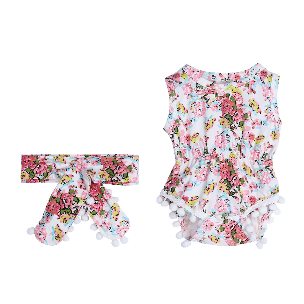 2Pcs Baby Infant Girls Sleeveless Floral Rompers Jumpsuit Sunsuit Headband For Spring /Summer