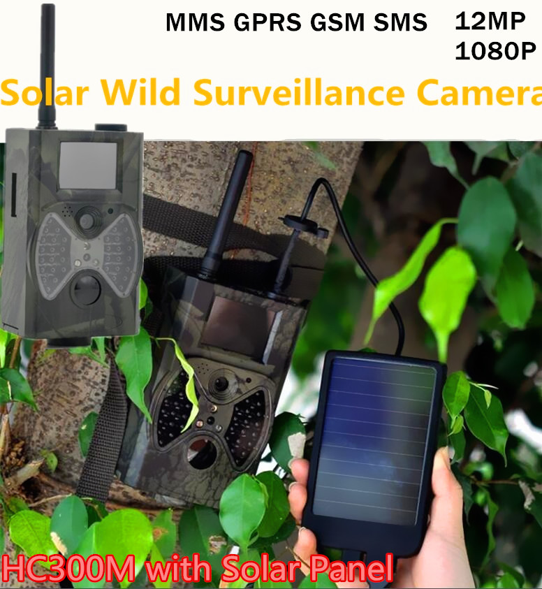 Outdoor Wild Camera Photo Traps Home Surveillance HC300M with Solar Panel Supply 12mp 940nm Digital Video Game Camera Trap