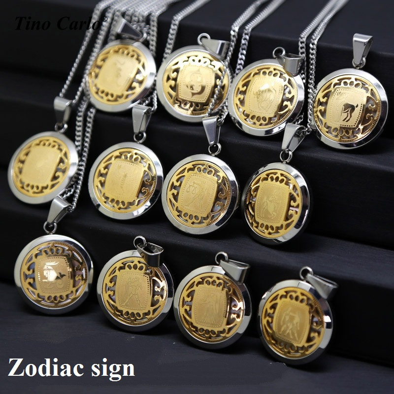 Zodiac Sign Gold Medallion Chain Necklaces 12 Variants: 12 Horoscope Gold And Silver 2 Tone Stainless Steel Round
