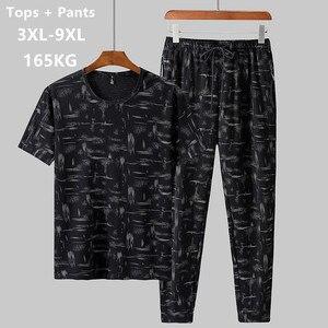 Image 1 - Sommer Mann Kleidung Set 2 Zwei Stück Top und Hosen 2019 Trainingsanzug Männer Sets T Shirt Plus Größe 6XL 7XL 8XL 9XL Sport Herren Camiseta