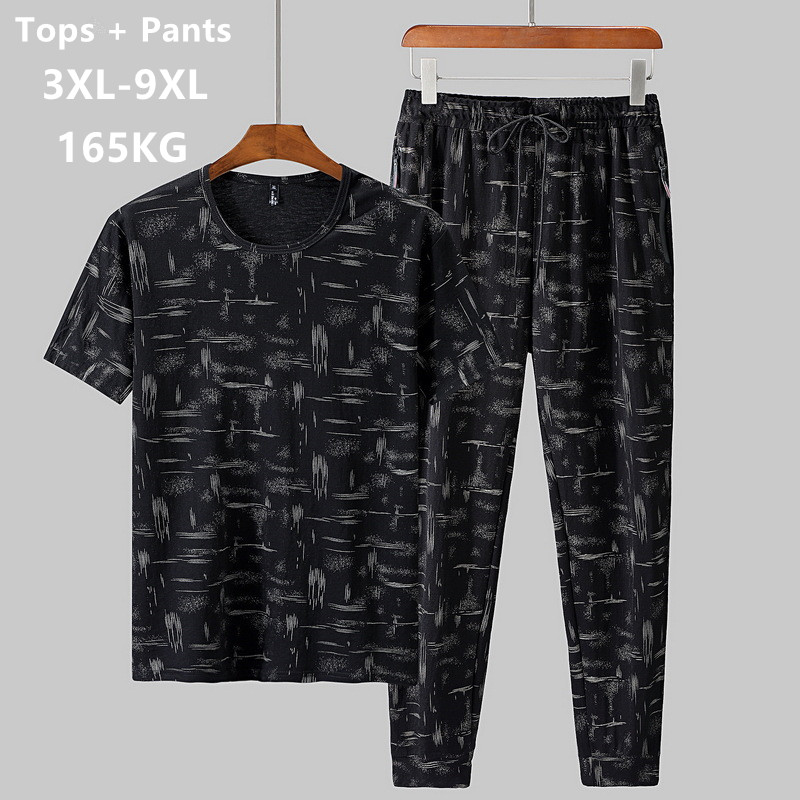 Summer Man Clothes Set 2 Two Piece Top And Pants 2019 Tracksuit Men Sets T Shirt Plus Size 6XL 7XL 8XL 9XL Sports Mens Camiseta