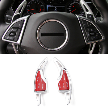 Red/Black/Silver 2PCS Metal Steering Wheel Gearshift Gear Stick Shifter Trim For 2016 2017 Chevrolet Camaro