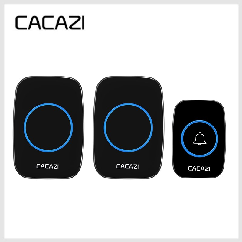 CACAZI Newest LED Smart Doorbell Waterproof 300M Remote Mini Wireless Door Bell 38 Chimes 20-85dB EU/UK/US Plug Door Ring