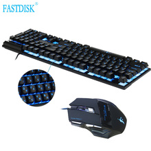 FASTDISK Ruso/Inglés 3 Colores Backlight Gaming Keyboard Teclado Gamer Flotante LED Retroiluminada USB Similar con juego del ratón