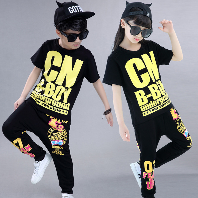 Girls Boys Hip Hop Clothes For Kids Fashion Cotton Children Hiphop Streetwear Clothing Sets Top And