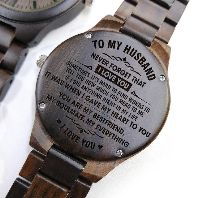 A mi marido-reunión que fue el destino convertirme en tu esposa fue una elección grabado de grabado reloj de madera de sándalo hombres relojes