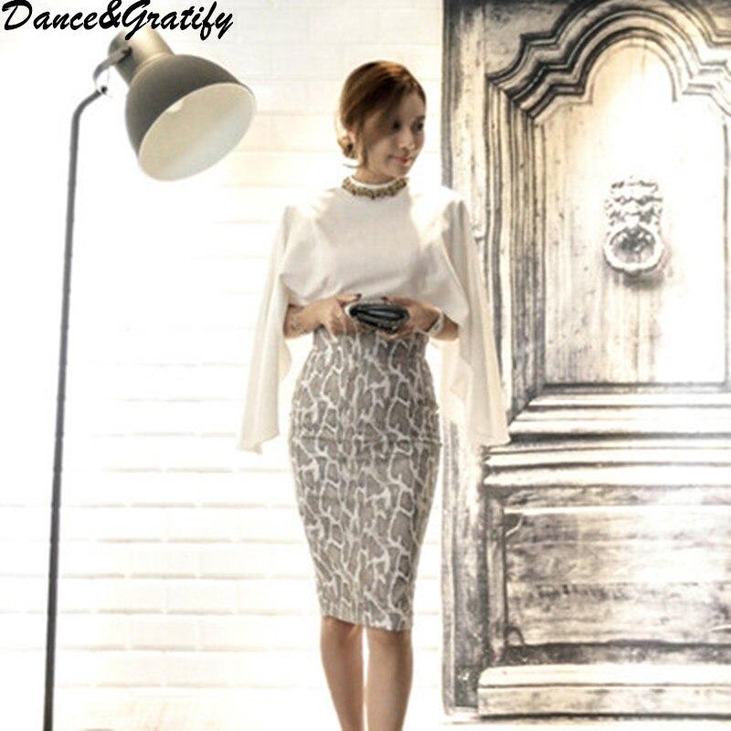 Women 2018 Autumn Fashion Cape Style Necklace Shirt + Snakeskin Bodycon Skirt Set Korean Office Work Business 2 Piece Suit