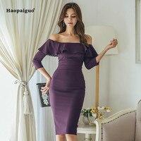 Plus Size Pencil Dress 2019 Women Spring Purple Three Quarter Sleeve Slash Neck Knee length Ruffles Elegant Vintage Dress Ladies