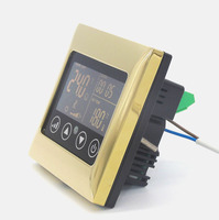 Bright Gold 4 Pipes Fan Coil Heat Cool Mode Thermostat With Timing Setting