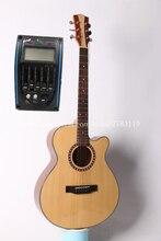 "Envío libre de gama alta 40 ""cutaway acústica eléctrica Guitarras, naturaleza brillo, alta calidad Guitarras con pickup tuner, km-150ce"