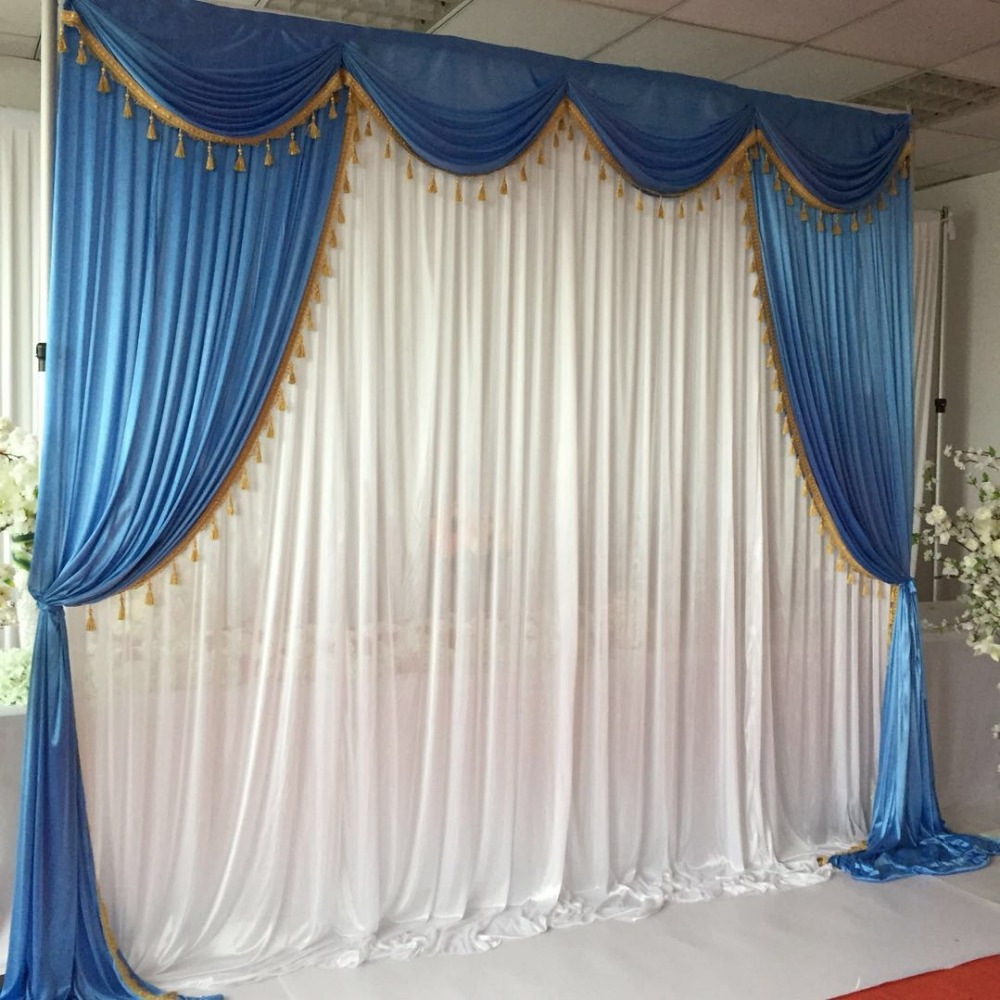 Hot Sale Blue White Ice Silk 3mx3m Swags Drapes With