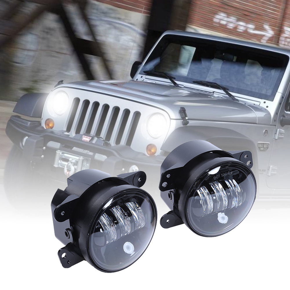 2Pcs Black 4 LED Foglight for Jeep Wrangler JK 30W Waterproof XTE Chromed Fog Light DRL Halo Driving Light for Jeep 4x4 SUV windshield pillar mount grab handles for jeep wrangler jk and jku unlimited solid mount grab textured steel bar front fits jeep