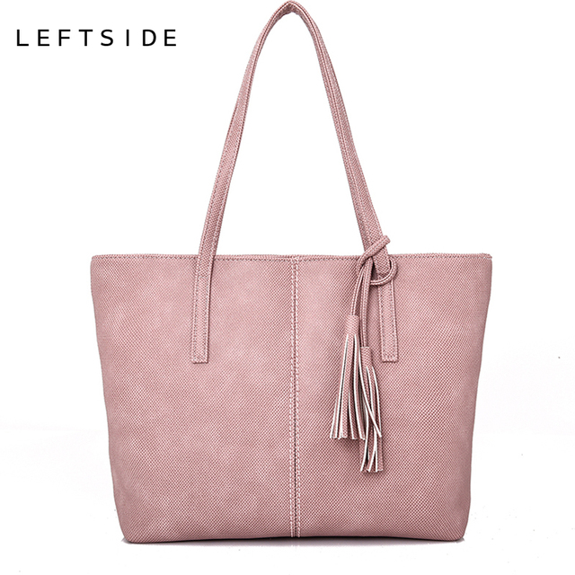 4d35415a0754 LEFTSIDE Tote Bag For Women 2018 Ladies Big Shopping Shoulder Bags Female  PU Leather Handbag Female Tassel High Capacity Bag