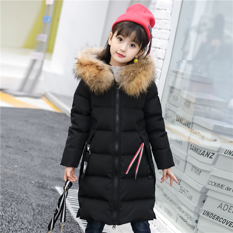 XYF8882 Boys Girls Winter Down Jackets Kids Big Fur Collar Thicken Winter Jacket Warm Outerwear Long Coat 85% White Duck Down buenos ninos thick winter children jackets girls boys coats hooded raccoon fur collar kids outerwear duck down padded snowsuit
