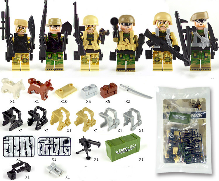 Weapon Pack Gun Building Blocks City Police Swat Team WW2 Soldier Accessory Figure Series Toys LegoINGlys Military Army 1601A/B