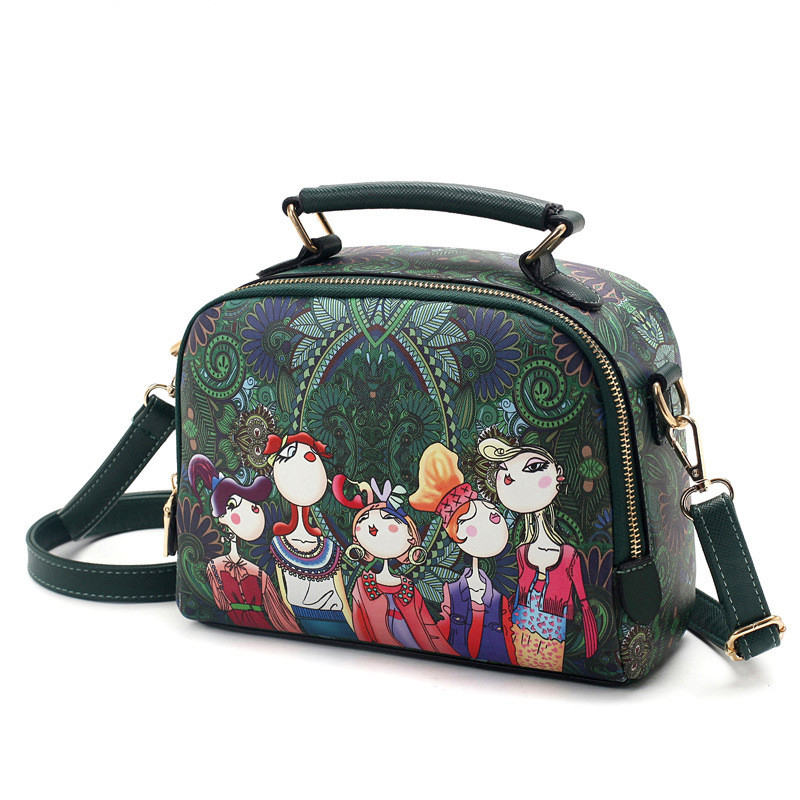 Cartoon Printing Women Bag Runda Frame Sequins Axelväska Girl - Handväskor - Foto 2