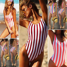 2019 Women Sexy One Piece Swimsuit Striped Bikini Push-Up Padded Swimwear Female Beachwear