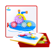 Baby Educational Puzzle Toys with Big Button Nail Interconnecting Geometry Creative Mosaic Gears Initiation Early Learning Toy