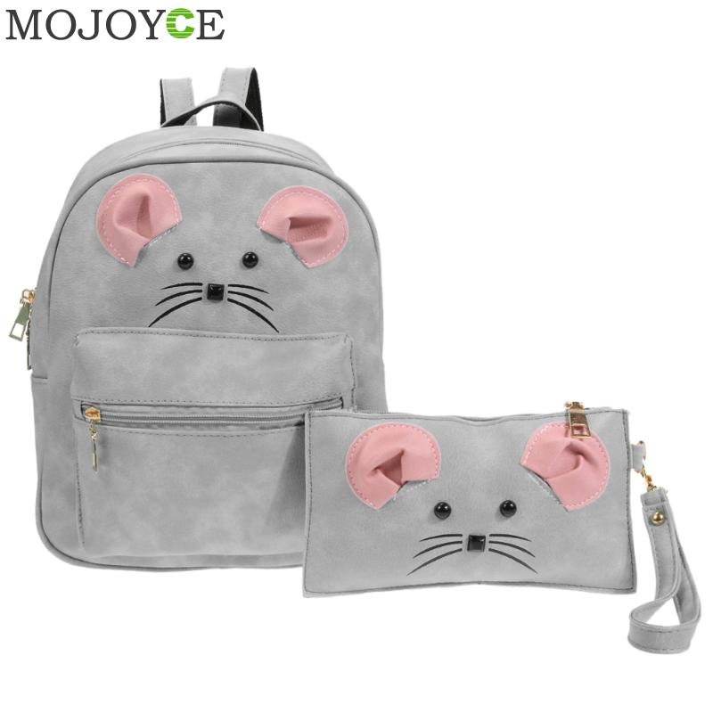 2pcs/set Women Backpack Fashion Cartoon Mouse PU Leather Backpacks for Teenager Girls Pink Cute Shoulder Bag Students Travel Bag kalidi 2pcs set backpack