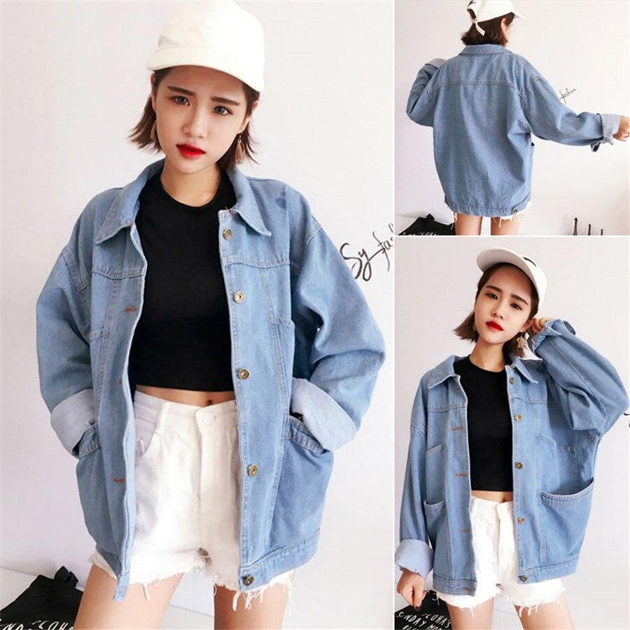 Basic     Jackets   Denim   Jacket   Fashion Jeans Coat Denim   Jacket   Women Loose Plus Worn Loose Student   Jackets   Spring Casual Clothing
