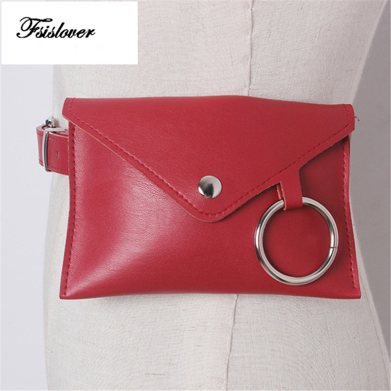 Fashion New PU leather Women Waist Pack Femal Belt Bag Phone Pouch Bags Women Envelope Bags Fanny Pack Bolosa Dropshipping in Waist Packs from Luggage Bags