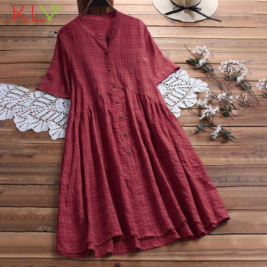 Платье женское элегантное льняное винтажное клетчатое повседневное летнее платье вечерние ночные платья мода 2019 плюс размер vestidos robe Femme 19May2