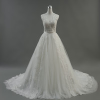 Gorgeous Ball Gown Wedding Dress With Lace Pearls Sequined Vestido De Novia Princesa Wedding Dresses Real