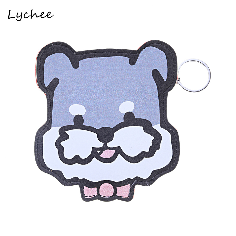 Focal20 Cute Cartoon PU Artificial Leather Wallet Coin Purse Keyring Animal Dog Cat Shape Women Girls Mini Pouch