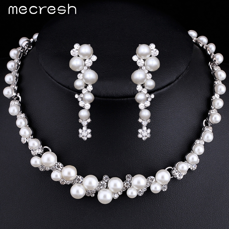 Mecresh Simulated Pearl Bridal Wedding Jewelry Sets Silver Plated Flower Choker Necklace Earrings Sets 2016 Party