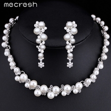 Mecresh Simulated Pearl Bridal Wedding Jewelry Sets Silver Color Flower Necklace Earrings Sets Wedding Engagement Jewelry TL367