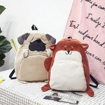 2017 new fashion women backpack school bag canvas cute animal ear embroidery corduroy female vintage notebook